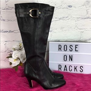 Cole Haan Black Leather Side Zip High Heel Boot